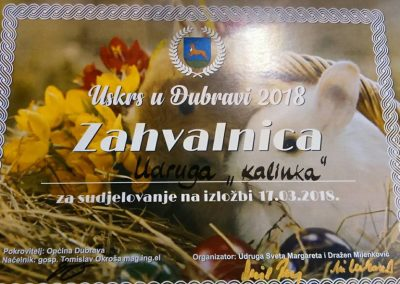Zahvalnica - Izložba pisanica Uskrs u Dubravi