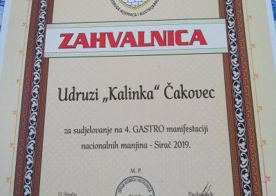 Sirač. IV. Gastro manifestacija nacionalnih manjina.Zahvalnica